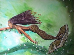 Dream2 (Mamu-Art) Tags: meer wasser grün acryl flosse haare fische meerjungfrau unterwasserwelt nixe