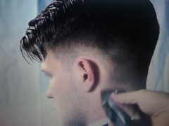 Short tapered pomp in progress (GusRoman) Tags: haircut hair buzz fringe barbershop crew crop barber shave cape bangs burr clippers barberchair pomp clippered