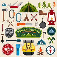 Camping symbols (Ember Studio) Tags: park camping camp mountain classic cooking expedition sign rock set illustration emblem design graphic symbol outdoor label web tag knife paddle style icon tent stamp explore climbing ornament badge round scouts backpack mountaineering axe oar flashlight merit pan recreation lantern wilderness shovel patch exploration boyscout vector compass carabiner pocketknife designelement iconset