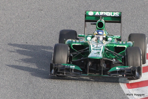 Charles Pic in his Caterham at Formula One Winter Testing 2013
