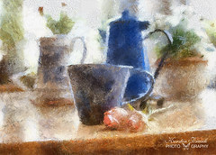 .. on the kitchen table -- (Kerstin Frank art) Tags: roses stilllife flower cup painting coffeecup manipulation flowerpot jugs coffeepot autopainter ipadart kerstinfrankart ipadedit ipadgraphers