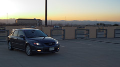 Mazdaspeed3 (BenWest2012) Tags: sunset mountains car canon evening colorado parkinggarage widescreen 28mm tokina co dxo gt mazda frontrange hatchback 5door mazdaspeed 16x9 goldenlight primelens manuallens 20085 arapahoecounty xti mazdaspeed3 greenwoodvillage 400d canonxti greenwoodvillagecolorado tokinael28mmf28 metrogray mazdaspeed3gt pktoeos tokinael