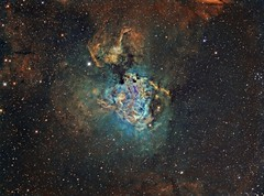 The Swan Nebula M17 Hubble Palette (Terry Hancock www.downunderobservatory.com) Tags: camera sky monochrome night stars photography mono pier back swan backyard fotografie photos thomas space omega shed band science images astro apo sagittarius m observatory telescope astrophotography lobster astronomy imaging horseshoe messier ccd universe narrow cosmos palette paramount hubble luminance m17 hst lodestar teleskop astronomie byo refractor deepsky f55 checkmark astrograph autoguider starlightxpress ngc6618 Astrometrydotnet:status=solved Astrometrydotnet:version=14400 tmb92ss mks4000 gt1100s qhy9m Astrometrydotnet:id=alpha20130306050088