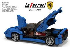 Ferrari LaFerrari - Revised - Engine cover & door open (lego911) Tags: auto italy car model italian lego geneva geneve ferrari hybrid coupe supercar v12 moc berlinetta kers miniland 2013 laferrari lego911