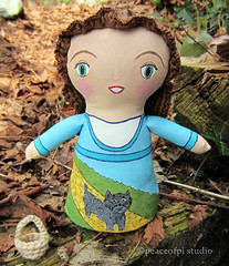 Dorothy and Toto (JoMo (peaceofpi)) Tags: dog canada dorothy j stuffed handmade sewing painted craft fave fabric artdoll wizardofoz toto softsculpture yellowbrickroad clothdoll peaceofpi