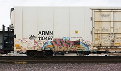 Phrite (quiet-silence) Tags: railroad art train graffiti railcar unionpacific graff freight reefer phrite armn fr8 wafact armn110497