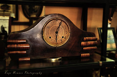 Old Mantelpiece Clock (Kaye Menner) Tags: oldmantelpiececlock clock oldclock mantelpiececlock antique antiqueclock woodenclock timberclock kayemennerphotography kayemenner early1900s vintage vintageclock heritage nostalgia nostalgic oldfashioned retro time hands handsonclock numbers numbersonclock dial clockface oldclockface face analog madeinusa usa horloge texture worn aged agedclock kayemennerheritageantique brown yellow red brownyellowred redyellow