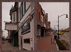 late day, dreary Sunday on the square (IndyEnigma) Tags: brick sign yellow retail truck diptych indiana sidewalk lamppost storefront smalltown bikerack courthousesquare