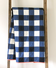 navy gingham quilt. (CB Handmade) Tags: baby les quilt navy gingham patchwork simple indiennes straightlinequilting cbhandmade craftyblossom solidquilts ericasage