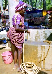 Woman at well (bokage) Tags: woman india water village dress goa well