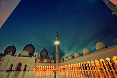 when time stops~ Abu Dhabi (~mimo~) Tags: light sky distortion man color beautiful architecture photography islam uae grand wideangle mosque abudhabi dome odc moslem hss sheikhzayedgrandmosque senseofhistory mimokhair potd:country=menaar