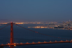 Golden Gate at Dusk (Dan Panaitescu (light catcher)) Tags: sanfrancisco california bridge sunset bay dusk goldengatebridge