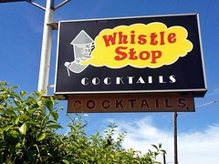 Out For A Toot (misterbigidea) Tags: whistle stop cocktails cocktail cartoon toot plastic sign signs club drinks drinking bar blowing steam roadside blue sky urban neighborhood landscape stockton