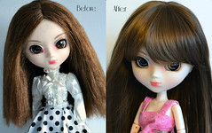 Bibi Before and After (Ceci ♥ Cuteness) Tags: brown black cute eye girl cat toy cool doll maroon ceci olive chips cm wig kawaii figure pullip cuteness custom 27 limited edition choco alte leeke obitsu leekeworld
