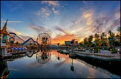 Another Sunset in Paradise - (EXPLORED) (Coasterluver) Tags: sunset disneyland disney fisheye dca disneycaliforniaadventure paradisebay paradisepier mickeysfunwheel andrewkirby coasterluver
