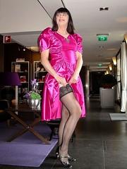 Stockings (Paula Satijn) Tags: pink sexy stockings girl dress legs silk skirt tgirl stocking gown satin gurl