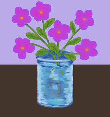 Pink Flowers in Blue Vase (Digital Pastel Day 2) (randubnick) Tags: stilllife art drawing workinprogress painter pinkflowers bluevase digitalsketch digitalpastel painter12