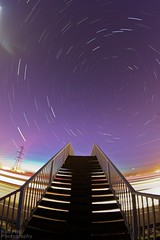 Dusk into Night Stair Trails (Rob Pitt) Tags: light sunset car stars view cheshire footbridge dusk hill trails 8mm footpath startrails helsby m56 samyang startrailsexe