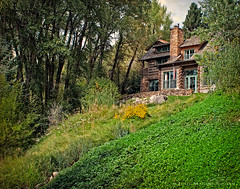 Cabin Dreams (Julie Magers Soulen) Tags: trees house mountain building home nature forest woodland landscape rockies log cabin colorado country rustic cottage architectural lodge logcabin mansion domicile residence hillside enchanted bungalow aspencolorado juliemagerssoulen
