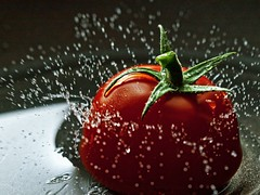 Letting Go (Fear_Through_The_Eyes) Tags: colour macro water fruits closeup tomato droplets drop splash highspeed