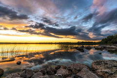 Sliver (Ray Moloney Photography) Tags: ifttt 500px lake reflection sunset rocks clouds water sky sun trees light tree green summer beautiful beauty travel ireland eire county clare reeds nature grass jetty