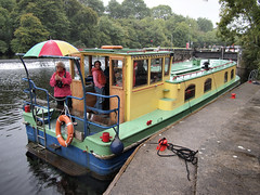 Jam at the lock (Daire Quinlan) Tags: digital pen olympus epl2 panasonic 14mm f25 barge shannon family river roscommon lough key lock