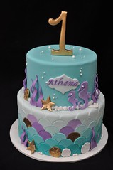 Mermaid birthday cake (jennywenny) Tags: mermaid birthday cake scales shells seaweed purple teal gold