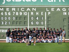 2016 Red Sox Spring Training - vs Northeastern University (murphman61) Tags: baseball boston redsox fortmyers ftmyers florida fl leecounty jetbluepark scoreboard northeastern university college team huskies