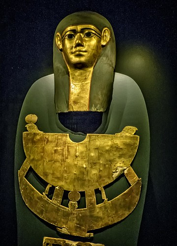 Gilded cartonnage Mummy Mask and Pectoral of Meret-it-es Egypt Late Period to Ptolemaic Period, 30th Dynasty to early Ptolemaic Dynasty 380-250 BCE Wood Pigment and Gesso