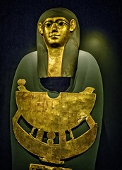 Gilded cartonnage Mummy Mask and Pectoral of Meret-it-es Egypt Late Period to Ptolemaic Period, 30th Dynasty to early Ptolemaic Dynasty 380-250 BCE Wood Pigment and Gesso (mharrsch) Tags: mummymask gilded gold gilt pectoral death burial funerary 30thdynasty ptolemaicdynasty lateperiod ptolemaicperiod religion myth goddess deity ancient nelsonatkins museum kansascity missouri mharrsch