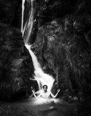 monk under the waterfall (David Kutschke) Tags: monk mnch waterfall wasserfall meditation meditating meditierend power kraft nature natur water wasser asia asian asien asiatisch bw blackandwhite blackwhite schwarzweis highcontrast kontrast bach streamlet ruhe balance calm calmness