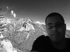 In the Shade on Suicide Rock (Blue Rave) Tags: 2016 sanjacintomountains trail nature idyllwild california ca iphonephotography iphoneography trees suiciderocktrail hike hiking suiciderock tahquitzpeak lilyrock mountains blackandwhite bw self myself ego me bloke dude guy male mate people selfie