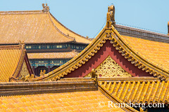 Beijing China - Detail of the ornamented roof and architecture of the Palace Museum located in the Forbidden City. (Remsberg Photos) Tags: asia beijing eastasia china forbiddencity emporer dynasty ming tourists sightseeing palacemuseum history historical culture chineseculture forbidden traveldestinations internationallandmark architecture cityscape chairmanmaodezong temple tiananmensquare monument meridiangate ornate colorful royalty chn