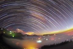 Startrails at Mountain Dalun  (Vincent_Ting) Tags:   teafield  sunset  seaofclouds  fog misty tea    taiwan   clouds tree sky   vincentting   startrails