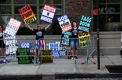 Westboro Baptist Church Picketing in NYC (jamie nyc) Tags: signs protest gothamist placards hatespeech fundamentalism wbc firstamendment westborobaptistchurch godhatesfags godhatesyou shirleyphelpsroper photobyjimkiernan thankgodfordeadsoldiers godisyourenemy fagsdoomnations constitutionallyprotected meganphelpsroper westborobaptistchurchpicketing soldiersdiegodlaughs fagpimpjudy destructionisimminent mournforyoursins radicalhatred fredphelpsisdead westboroleaderdead westborobaptistchurchleaderdies pastorfredphelpsdead