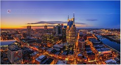 Nashville Skyline Feb 14th (Warne Riker Photography) Tags: city sunset night lights tn nashville tennessee nashvilleskyline nashvilletnriverfrontcityskyline