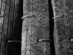 Secure Traction (R A Pyke (SweRon)) Tags: old blackandwhite bw stilllife pentax recycled steel tire cable blast tyre k5 baffle sweron m42elicar35mmf28 201207227781