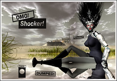 Alles Klaar in Tabloid Expos (Alles Klaar) Tags: woman water beauty grass clouds buildings reflections hair boots framed text posed secondlife earrings android windlight filterforge neurolabinc dmyes