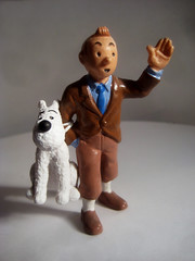 Tintin with Snowy 4280 (Brechtbug) Tags: from sculpture dog film statue by comics movie french toy toys tin comic belgium action snowy character coat cartoon running run plastic trench strip captain figure tintin adventures haddock herge the 2013