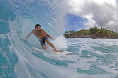 tubed (bluewavechris) Tags: ocean sea color water face canon fun hawaii surf ride action surfer board tube barrel maui spray fisheye dome surfboard lip curl thebay swell locked 815 honoluabay honolua shacked cmtwaterhousing