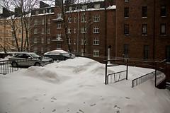 The view out of my kitchen window today (Poupetta) Tags: windows snow fence backyard balconies helsinkihelsingforsfinland