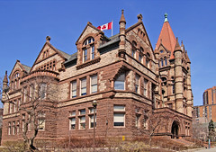 Richardsonian Romanesque red sandstone, W. G. Storm, 1892 - Victoria University, University of Toronto (edk7) Tags: old city red urban toronto ontario canada building college architecture d50 carved sandstone universityoftoronto style structure architect vic ornate romanesque 2008 institutional 1892 victoriauniversity richardsonian wgstorm edk7