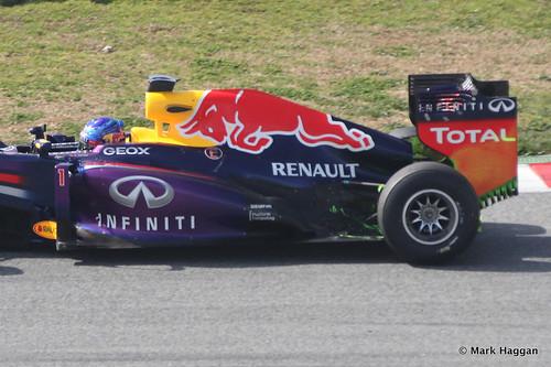 Sebastian Vettel in his Red Bull at Formula One Winter Testing 2013