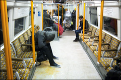 One too many... (World of Tim) Tags: street city man london public up night drunk train canon one tim britain many candid empty south united great transport tube over kingdom ground surrey powershot ill seats drunken too sick quays overground vomit throwing crowded saunders vomiting s100 explored