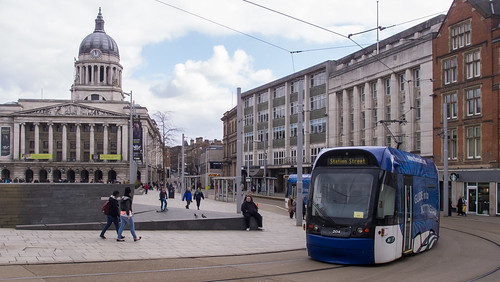 Nottingham tram 204 in Old Market Square