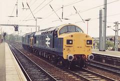 37116 37052 21st May 1987 Ipswich (Ian Sharman 1963) Tags: station yard train diesel 1987 21st may loco class 37 ipswich 37116 37052