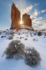 Winter's Spires - Arches National Park, Utah (Jim Patterson Photography) Tags: winter mountain snow southwest nature landscape outdoors utah nationalpark scenery arch desert scenic arches canyon redrocks moab hoodoos naturalarch rockarch naturalarches rockarches jimpattersonphotography jimpattersonphotographycom seatosummitworkshops seatosummitworkshopscom