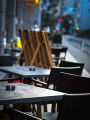 Outside tables (hyossie) Tags: light japan evening chair dof bokeh olympus tables  osaka omd 45mmf18 em5 mzuiko