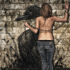 Grunge Graffiti (Sconsiderato) Tags: girls people woman muro texture girl beautiful beauty wall female photoshop canon pose hair naked nude graffiti photo back chains hands nudes hand skin nu femme mani persone jeans mano pelle bellezza schiena nudo capelli elaboration catene elaborazioni modifiche sconsiderato