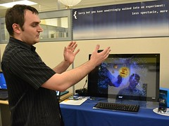 Gesture control of PC in Intel Perceptual Computing Lab (IntelFreePress) Tags: intel contextaware eyetracking 3dcamera wearablecomputing facialrecognition gesturerecognition voiceactivated sensortechnology perceptualcomputing